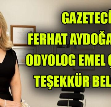Gazeteci Ferhat Aydogan'dan Odyolog Emel Çetine Tesekkur Belgesi